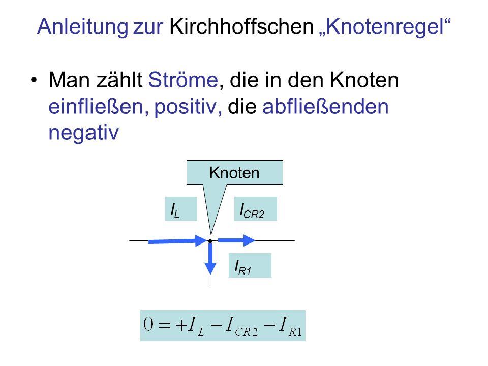 Knoten 1 Knoten 2 Beispiel für die Analyse einer Schaltung nach der Kirchhoffschen Knotenregel U0U0 Knoten 1 ILIL I CR2 I R1 I CR2 Knoten 2 I0I0