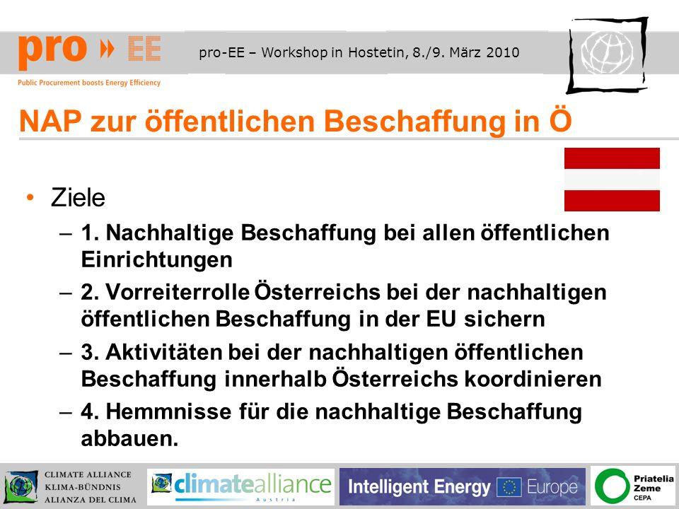 pro-EE – Workshop in Hostetin, 8./9.März 2010 Wie sollen die Ziele erreicht werden.