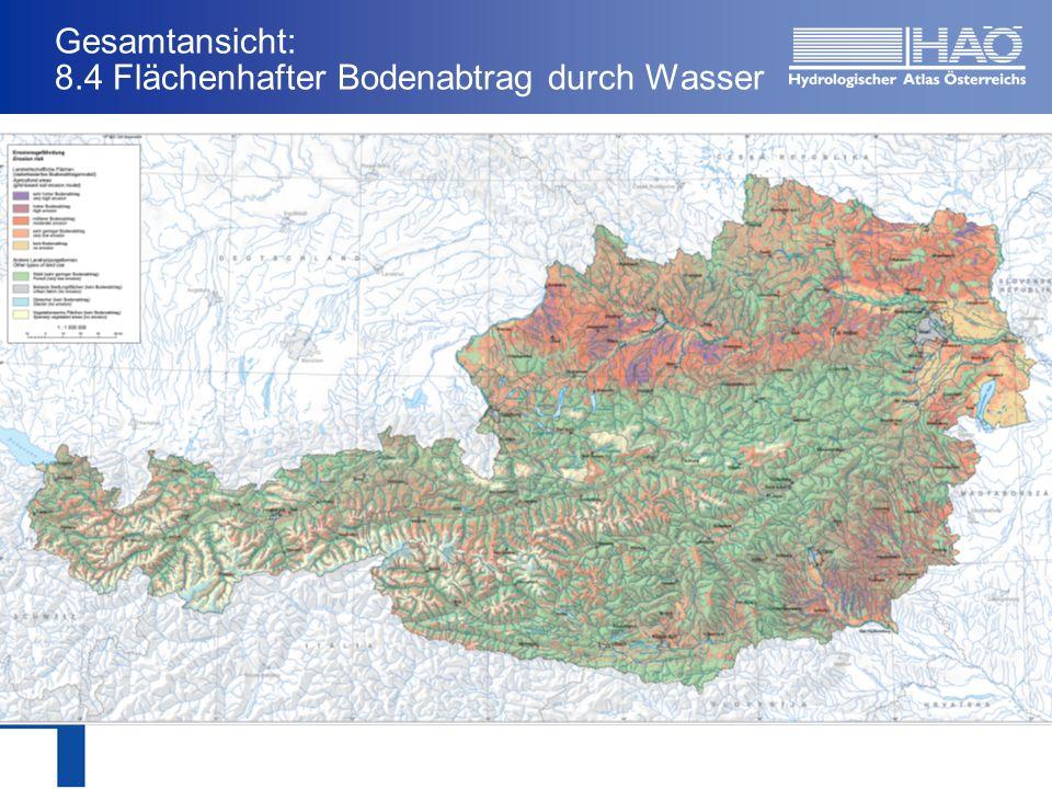 Zusammenfassung Erstmalige Möglichkeit einer bundesweiten einheitlichen Darstellung des flächenhaften Bodenabtrags durch Wassererosion Verwendung findet diese Auswertung bereits bei der Evaluierung von Erosionsschutzmaßnahmen im Rahmen von ÖPUL, bzw.