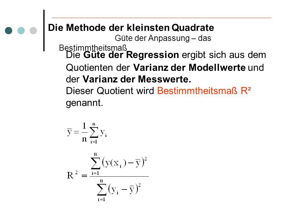 Bestimmtheitsmaß R² R² ist genau dann gleich 1, wenn alle Datenpunkte auf der Regressionskurve mit y(x) liegen.