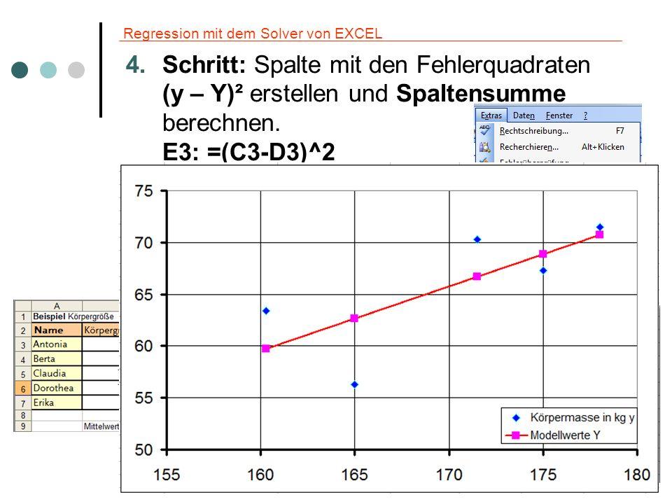 Regression mit dem Solver von EXCEL Optional ist die Berechnung von R² Spalte mit (Y – M)² berechnen.