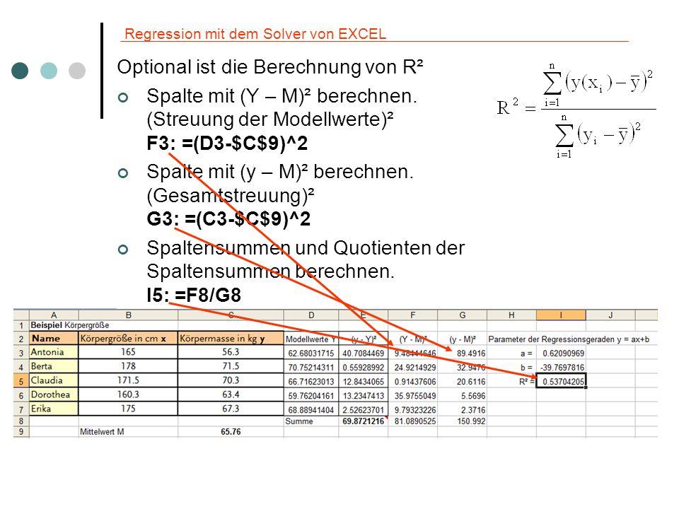 Regression mit dem Solver von EXCEL Hinweis: In Excel 2007 finden Sie den Solver bei den Analyse-Tools.