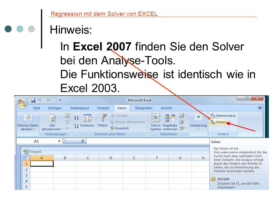 Regression mit dem Solver von EXCEL Beispiel 2: Berechnung der quadratischen Nachfragefunktion.