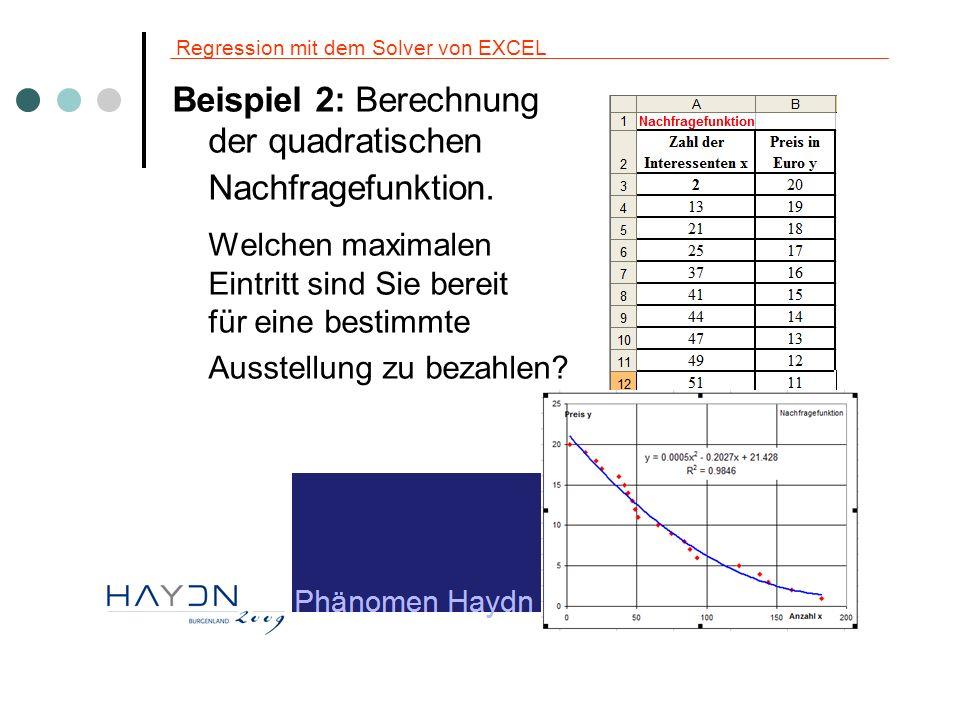 Regression mit dem Solver von EXCEL Beispiel 2: Welchen maximalen Eintritt sind Sie bereit für eine bestimmte Ausstellung zu bezahlen.