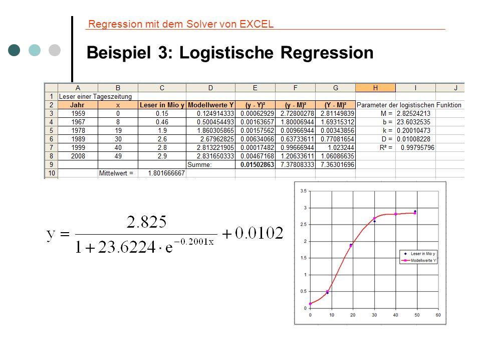 Regression mit dem Solver von EXCEL Beispiel 3: Weitere Berechnungen Für die folgenden Berechnungen verwenden wir die ermittelte Regressionsfunktion.
