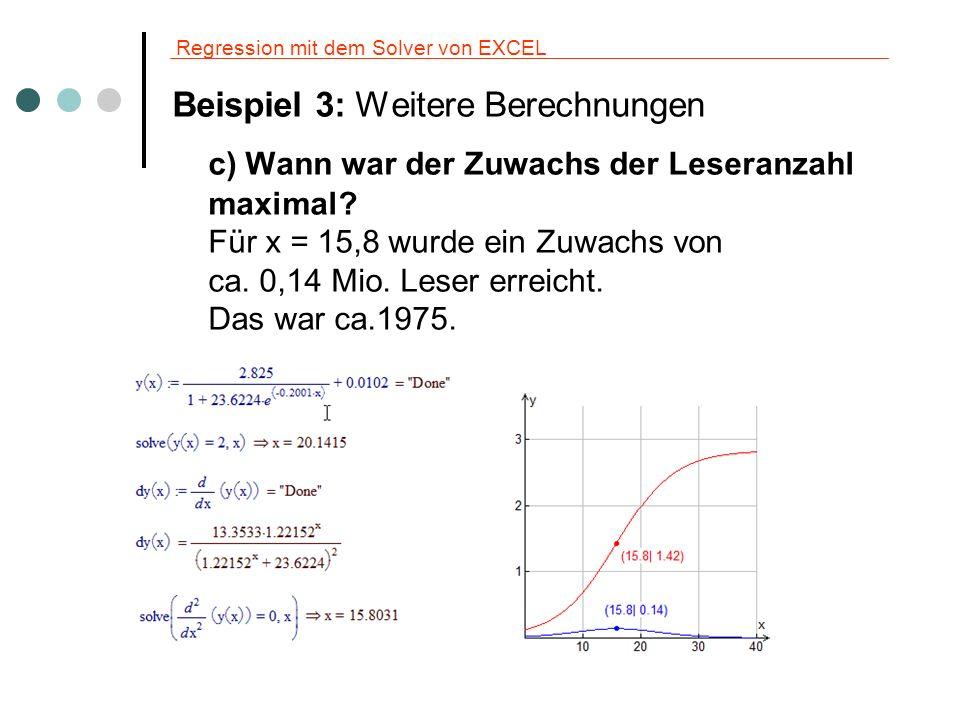 Regression mit dem Solver von EXCEL Beispiel 4: Sinusregression http://www.zamg.ac.at/klima/sonne_mond/index.php?jahr=2009&ort=eise http://www.zamg.ac.at/klima/sonne_mond/index.php?jahr=2009&ort=eise Ziel ist es eine Näherungsfunktion in der Form y = A·sin(B·x + C) +D für die Berechnung der Tageslänge zu finden.