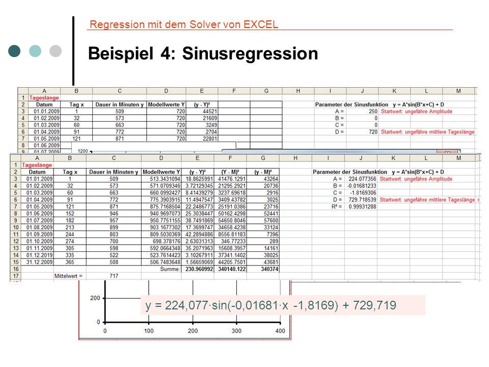 Regression mit dem Solver von EXCEL Beispiel 4: Berechnungen mit der ermittelten Funktion y(x) = 224,077·sin(-0,01681·x -1,8169) + 729,719 a) An welchem Tag ist nach diesem Rechenmodell der längste Tag.