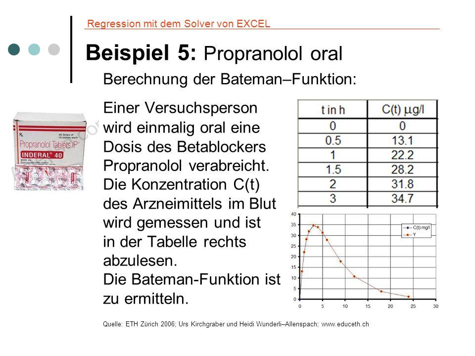 Regression mit dem Solver von EXCEL Beispiel 5: Propranolol oral Berechnung der Bateman–Funktion