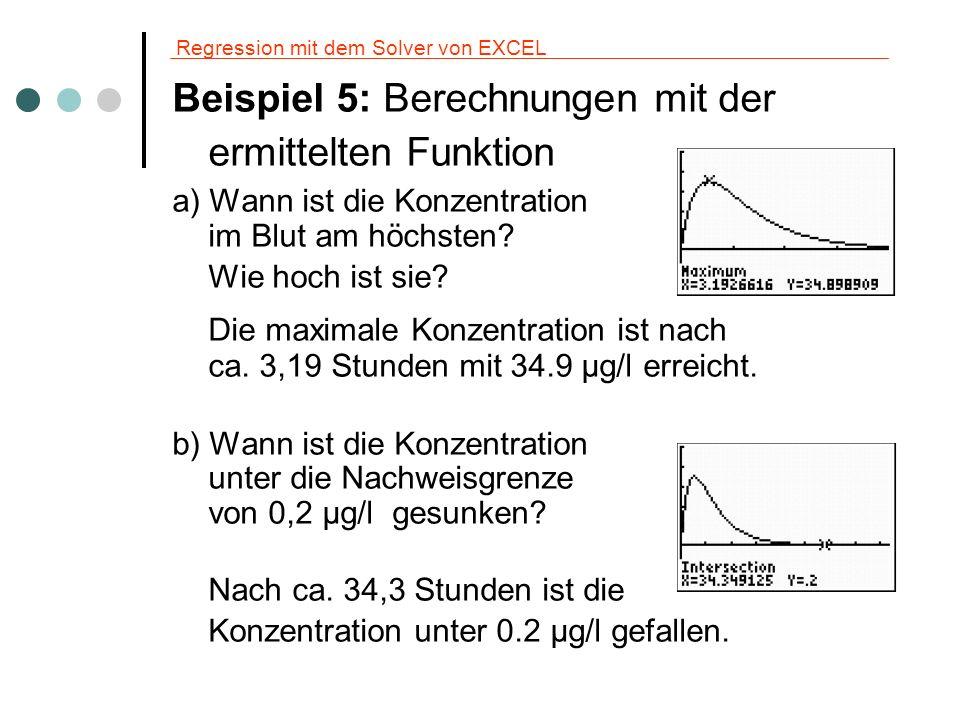 Regression mit dem Solver von EXCEL Beispiel 5: Weitere Berechnungen c) Wie lange wirkt das Medikament, wenn dazu eine Mindestkonzentration von 5 μg/l im Blut benötigt wird.