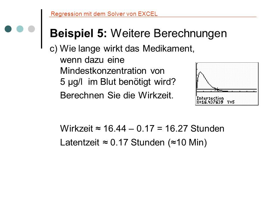 Regression mit dem Solver von EXCEL Beispiel 5: Propranolol oral d) Zu welchem Zeitpunkt ist die Aufnahmerate (Zunahme der Konzentration) am höchsten.