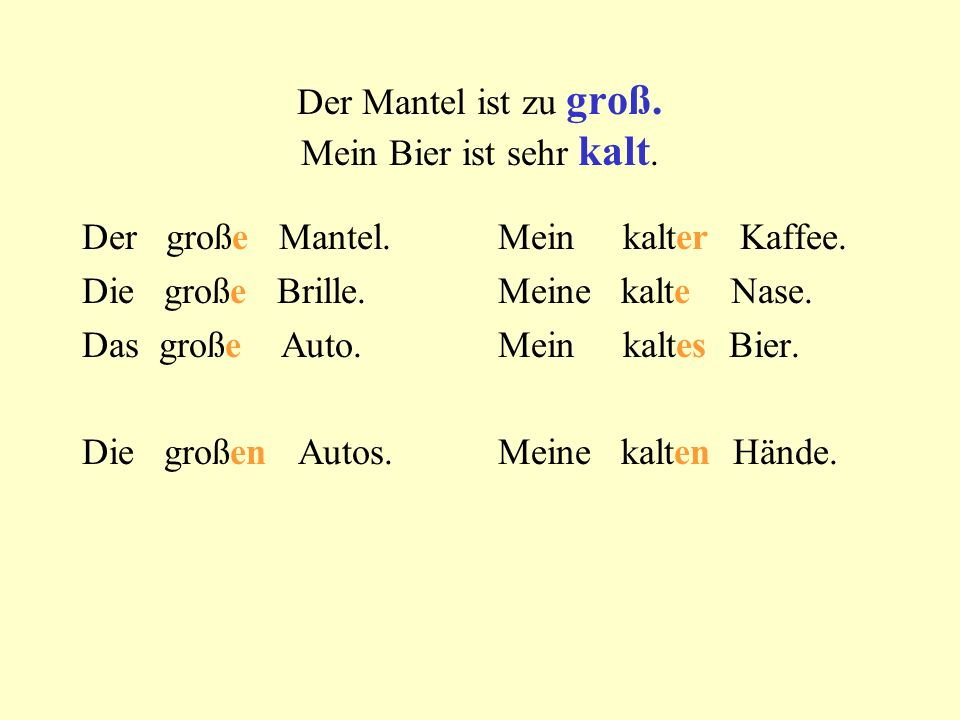 : shirt shoes pants sweater coat blouse dress skirt gloves jacket old red big new green multi- coloured blue good black white my a your the our not a their her his this Example: Im Koffer ist eine gelbe Kravatte.