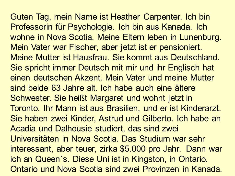 Heather Carpenter what - Was macht H.C..where from - Woher ist / kommt sie .