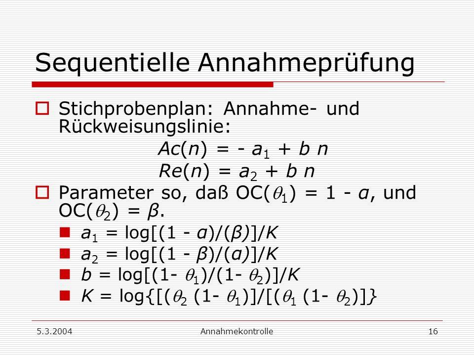 5.3.2004Annahmekontrolle17 Beispiel 3: Sequentielle Prüfung 1 = 0.02, 2 = 0.08, α = 0.05, β = 0.10 K = 0.629, a 1 = 1.553, a 2 = 1.994, b = 0.0436 Ac(n) = - 1.553 + 0.0436 n Re(n) = 1.994 + 0.0436 n