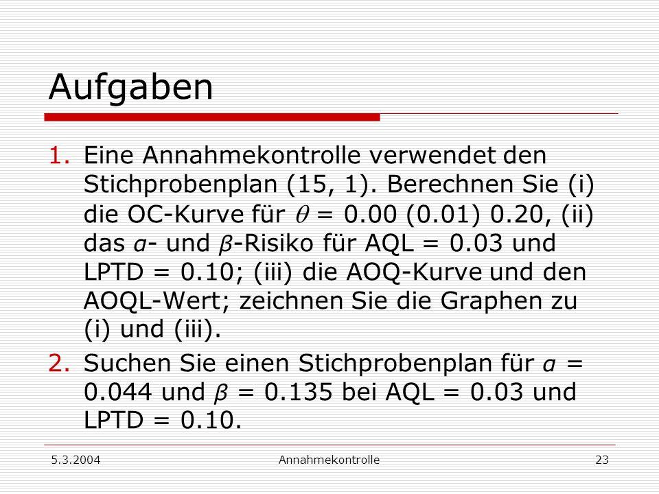 5.3.2004Annahmekontrolle24 Aufgaben, Forts.