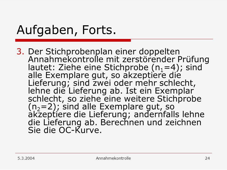 5.3.2004Annahmekontrolle25 Aufgaben, Forts.