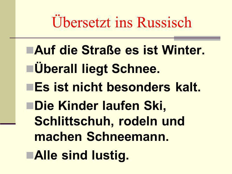 Übersetzt ins Deutsch Зима. Холодно. Идёт снег. Светит солнце. Дети радуются зиме.