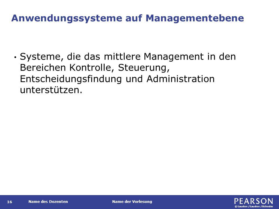 © Laudon /Laudon /Schoder Name des DozentenName der Vorlesung Strategische Anwendungssysteme 17 Anwendungssysteme, die die langfristige Planung des oberen Managements unterstützen.