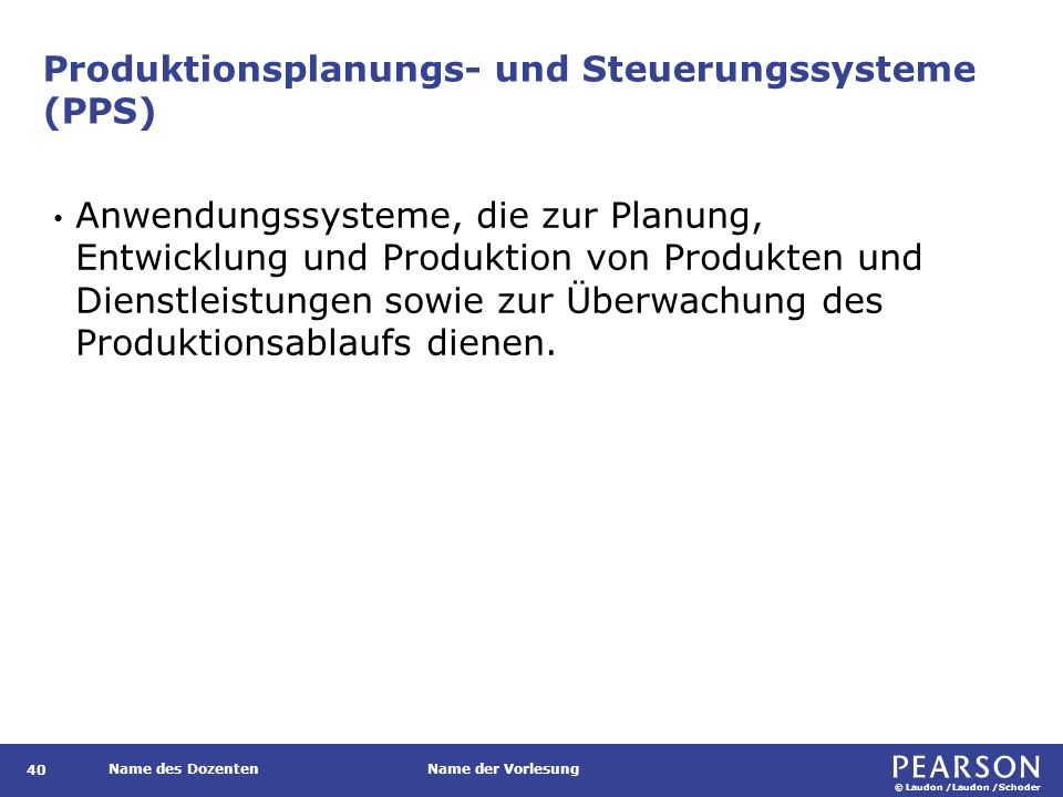 © Laudon /Laudon /Schoder Name des DozentenName der Vorlesung Beispiele für PPS-Systeme auf verschiedenen Organisationsebenen 41