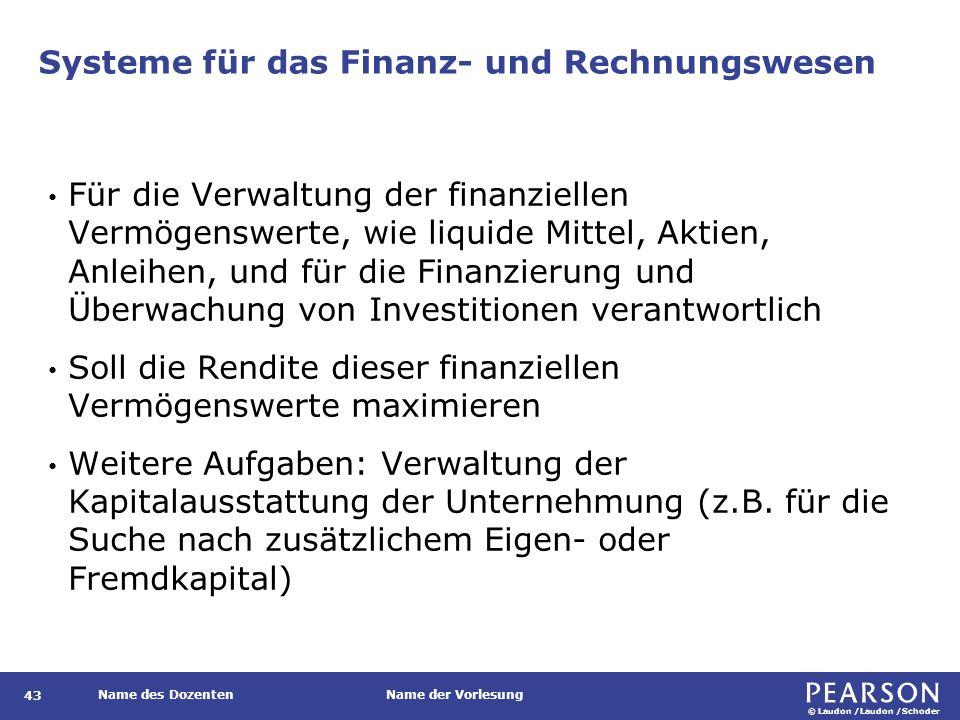 © Laudon /Laudon /Schoder Name des DozentenName der Vorlesung Rechnungswesensysteme 44 Anwendungssysteme, die zur Verwaltung der finanziellen Vermögenswerte und der Ein- und Ausgaben einer Firma dienen.