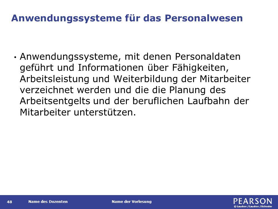 © Laudon /Laudon /Schoder Name des DozentenName der Vorlesung Ein Anwendungssystem zur Verwaltung der Personalakten 49 Abbildung 8.10