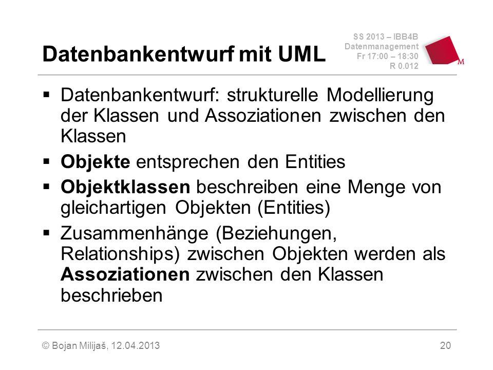 SS 2013 – IBB4B Datenmanagement Fr 17:00 – 18:30 R 0.012 © Bojan Milijaš, 12.04.201321 UML – Klasse Zentrales Konstrukt ist die Klasse (class), mit der gleichartige Objekte hinsichtlich Struktur (~Attribute) Verhalten (~Operationen/Methoden) modelliert werden Sichtbarkeit: +public -private #in subclasses Studenten + MatrNr : int + Name : String + Semester : int +Notenschnitt() : float +SummeSWSKlassenname Attribute Operationen