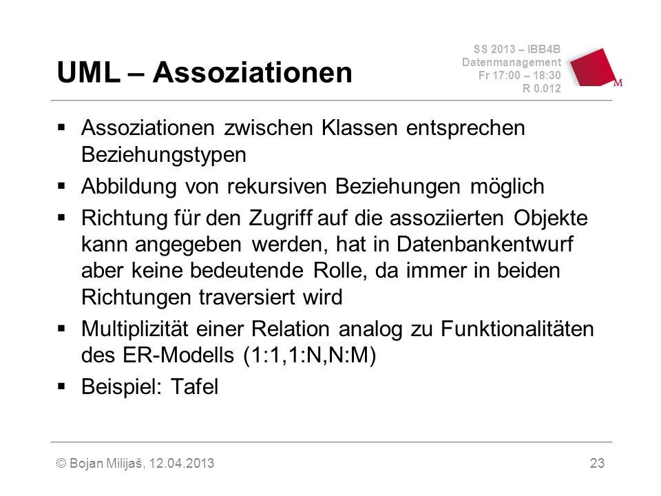 SS 2013 – IBB4B Datenmanagement Fr 17:00 – 18:30 R 0.012 © Bojan Milijaš, 12.04.201324 UML – Assoziationen (2)