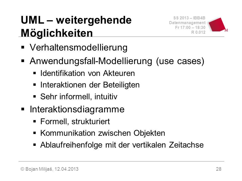 SS 2013 – IBB4B Datenmanagement Fr 17:00 – 18:30 R 0.012 © Bojan Milijaš, 12.04.201329 UML – use cases