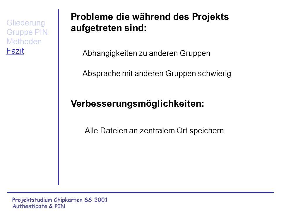Projektstudium Chipkarten SS 2001 Authenticate & PIN Probleme die während des Projekts aufgetreten sind: Verbesserungsmöglichkeiten: Gliederung Gruppe PIN Methoden Fazit Alle Dateien an zentralem Ort speichern Abhängigkeiten zu anderen Gruppen Absprache mit anderen Gruppen schwierig