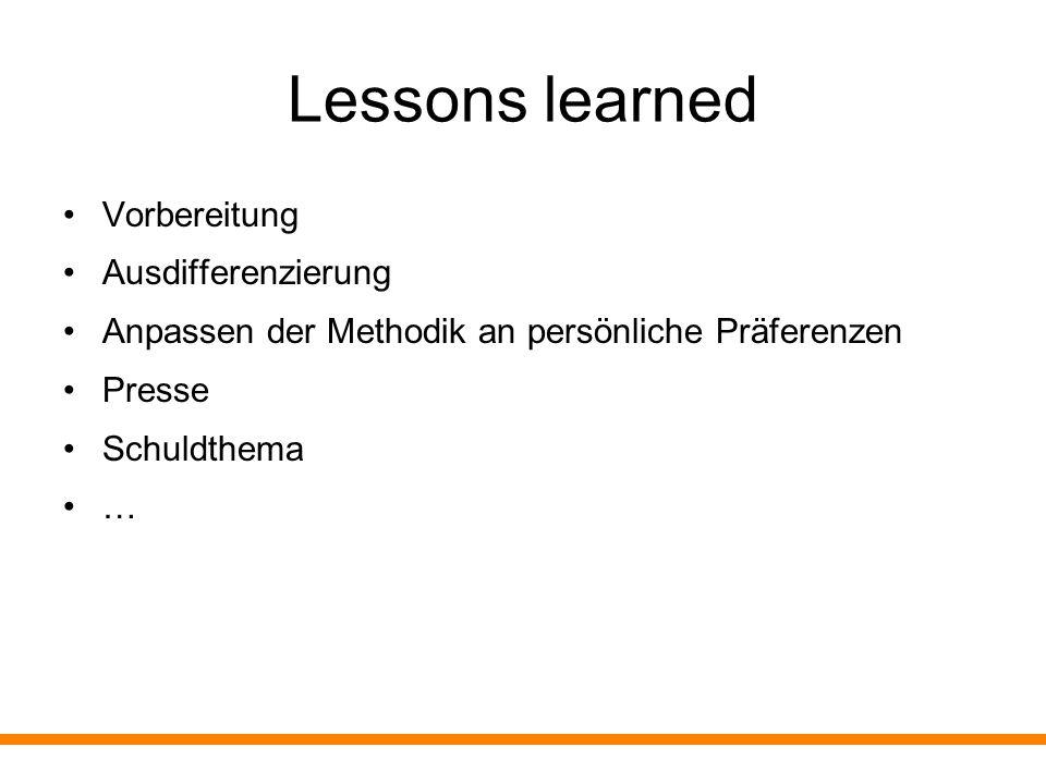 Lessons learned Gemeinsamer Abschluss am Ende des ersten Tages ist SEHR wichtig Eigene Resonanz … Abschätzen der Betroffenheit bzw.
