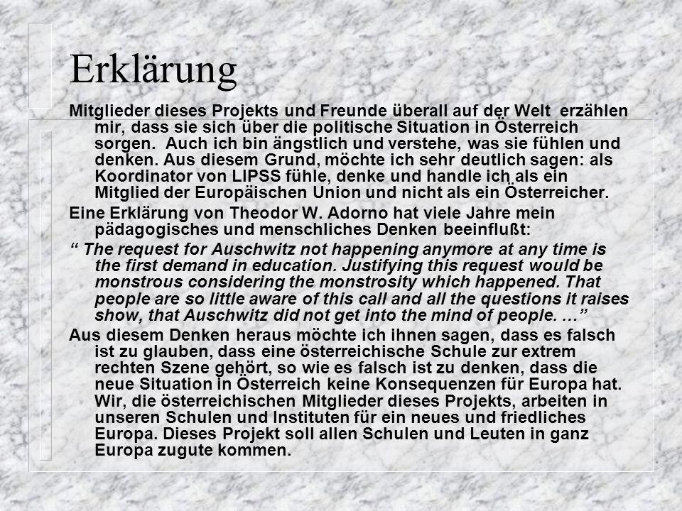 Erklärung Mitglieder dieses Projekts und Freunde überall auf der Welt erzählen mir, dass sie sich über die politische Situation in Österreich sorgen.