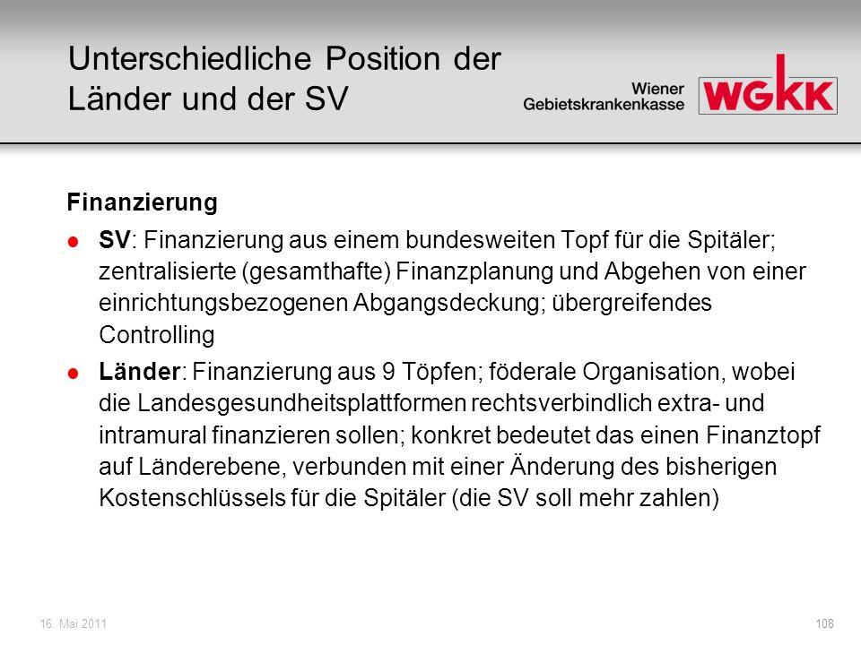 16.Mai 2011109 Agenda: 1. Ausgangssituation 2. Finanzierung der Spitäler 3.