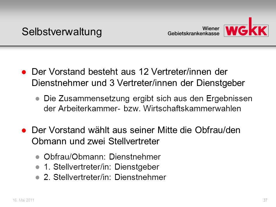 16.Mai 201138 Selbstverwaltung l Obfrau Mag a. Ingrid Reischl l 1.