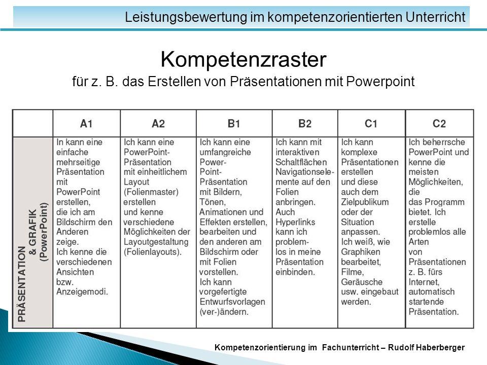 Kompetenzorientierung im Fachunterricht – Rudolf Haberberger Danke für Ihre Aufmerksamkeit