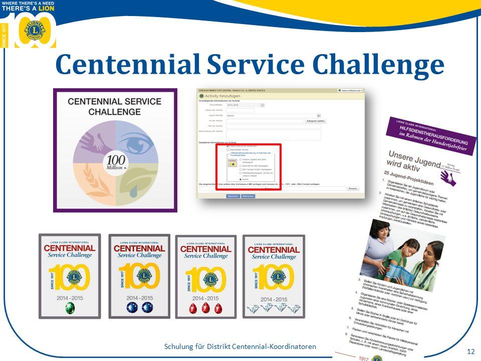 Centennial- Mitgliedschaftsauszeichnungen 13 Schulung für Distrikt Centennial-Koordinatoren