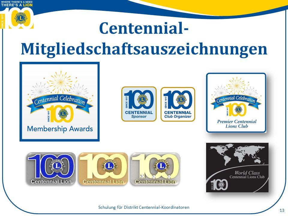 Centennial Community Legacy- Projekte 14 ein bleibendes und sichtbares Vermächtnis schaffen Projekte über Lokalmedien bekannt machen Projekte über MyLCI melden, um ausgezeichnet zu werden Schulung für Distrikt Centennial-Koordinatoren