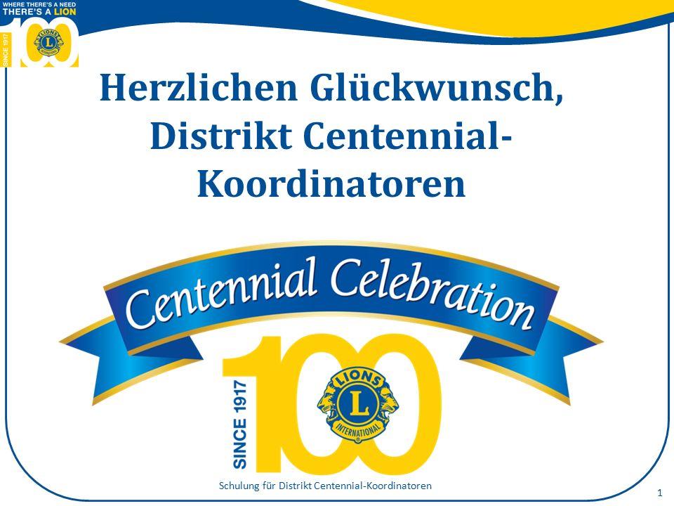 Heutige Themenpunkte Ihre Rolle bei der Lions-Hundertjahrfeier Führungskompetenzen 2 Schulung für Distrikt Centennial-Koordinatoren