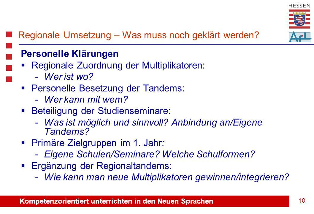 Kompetenzorientiert unterrichten in den Neuen Sprachen 11 Regionale Umsetzung – Wer könnte mit wem arbeiten.