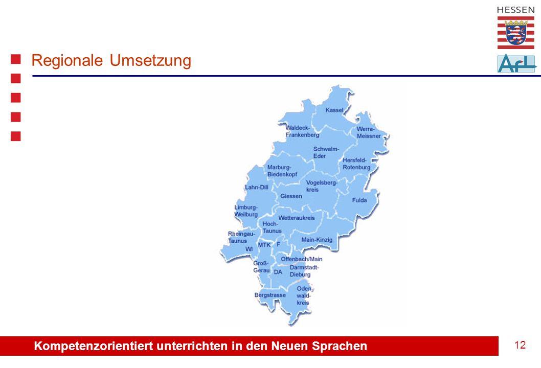 Kompetenzorientiert unterrichten in den Neuen Sprachen 13 Regionale Umsetzung: Regionen Nord – Mitte – Süd ?