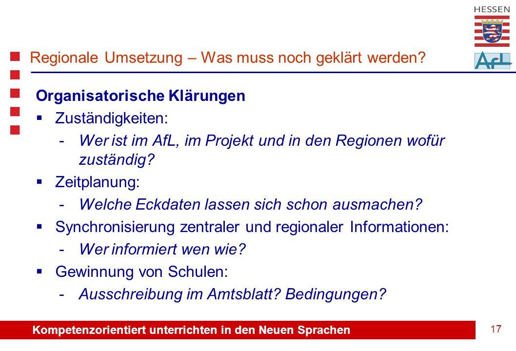 Kompetenzorientiert unterrichten in den Neuen Sprachen 18 Regionale Umsetzung – Unterstützung der Abt.