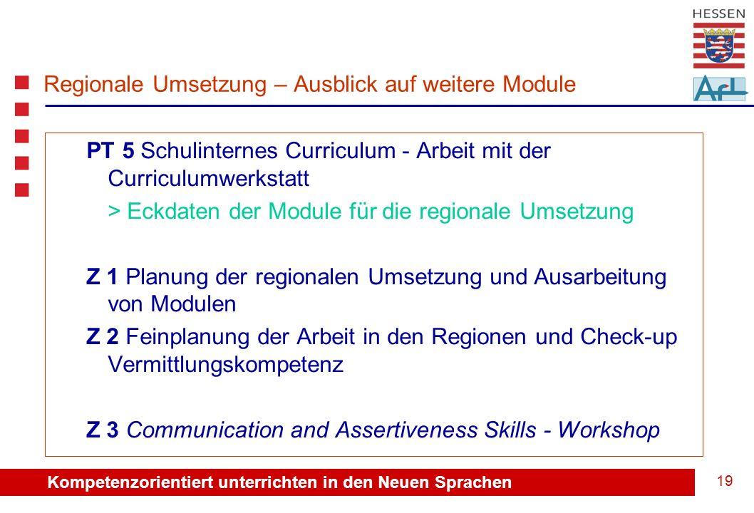 Kompetenzorientiert unterrichten in den Neuen Sprachen 20 Regionale Umsetzung Vielen Dank für Ihre Mitarbeit