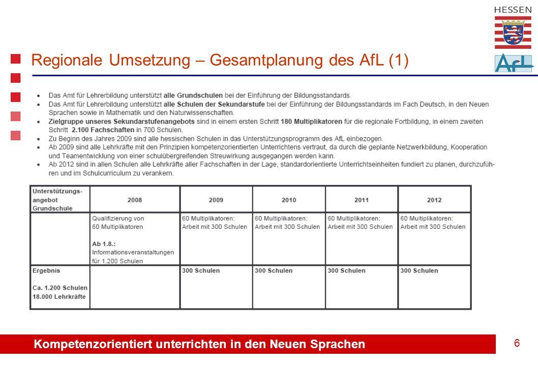 Kompetenzorientiert unterrichten in den Neuen Sprachen 7 Regionale Umsetzung – Gesamtplanung des AfL (2)