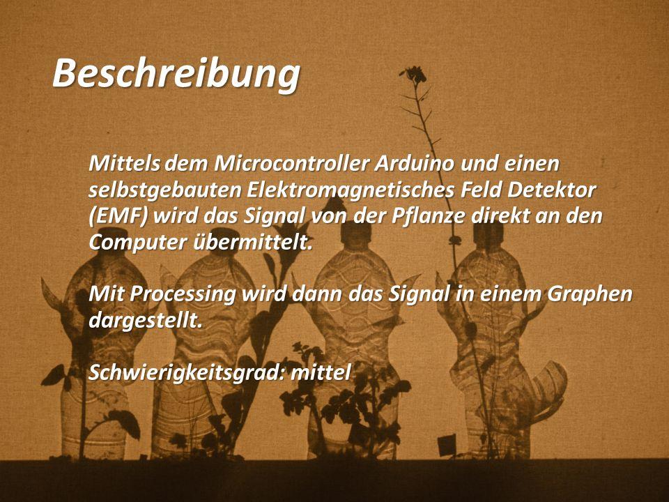 1) Aufbau zwischen Arduino und Sensor Tutorials: http://www.instructables.com/id/Arduino-EMF-Detector/?lang=de&ALLSTEPS http://www.aaronalai.com/emf-detector Kunst/Designprojekt: http://www.interface.ufg.ac.at/christa- laurent/WORKS/CONCEPTS/PlantsConcept.html http://www.interface.ufg.ac.at/christa- laurent/WORKS/CONCEPTS/PlantsConcept.html Arduino Analog Input 5 Arduino Ground Pin Sensor Eingänge