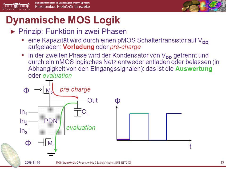 Budapesti Műszaki és Gazdaságtudomanyi Egyetem Elektronikus Eszközök Tanszéke 2009-11-10 MOS áramkörök © Poppe András & Székely Vladimír, BME-EET 2008 14 Dynamisches Gatter In 1 In 2 PDN In 3 MeMe MpMp Φ Φ Out CLCL Φ Φ A B C MpMp MeMe on off 1 on !((A&B)|C) Zwei Phasen: Precharge (Φ = 0) Evaluate (Φ = 1) Wenn der Ausgang eines dynamischen Gatters entladen wurde, ist er solange nicht zu entladen, bis er in einer pre- charge Phase wieder aufgeladen wird
