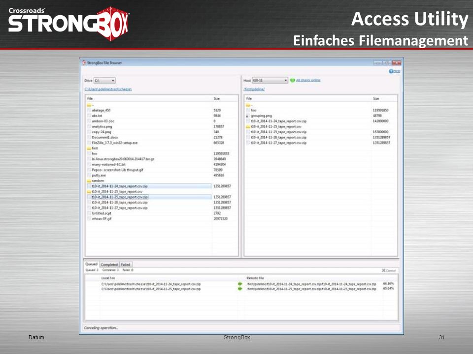 Access Utility Einfaches Filemanagement Datum StrongBox