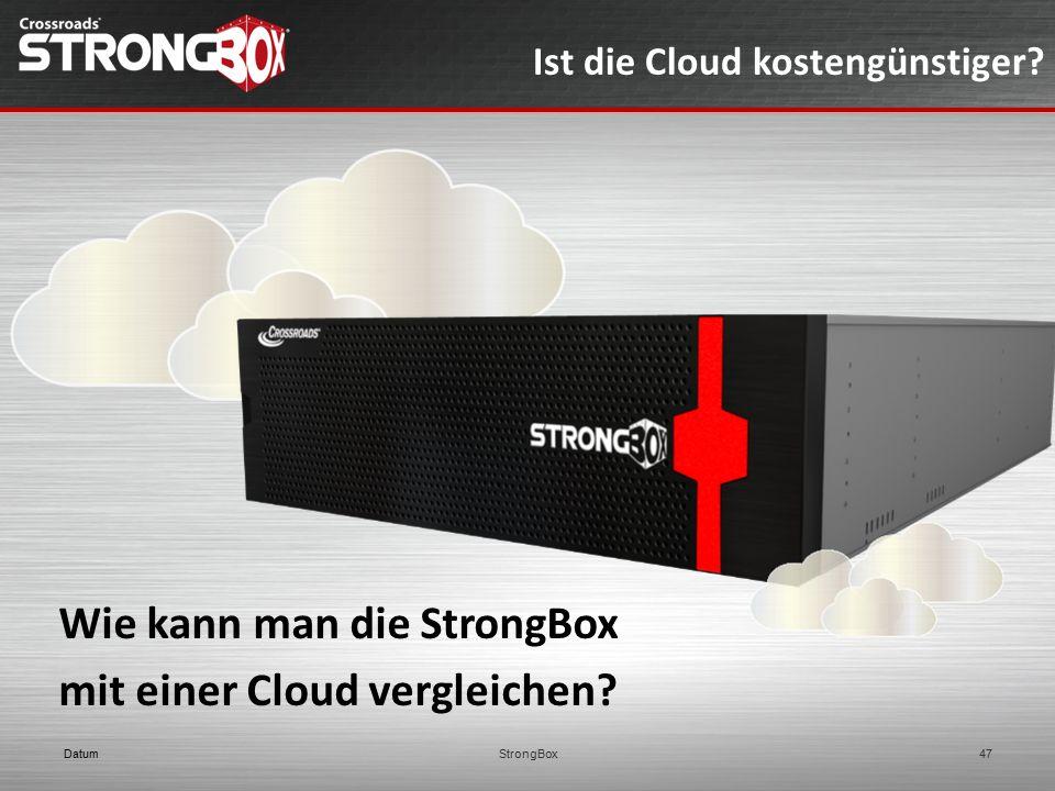 Wie kann man die StrongBox mit einer Cloud vergleichen