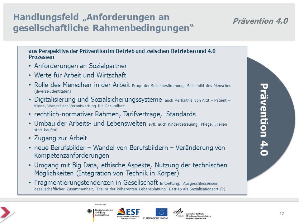 """Handlungsfeld """"Anforderungen an gesellschaftliche Rahmenbedingungen"""