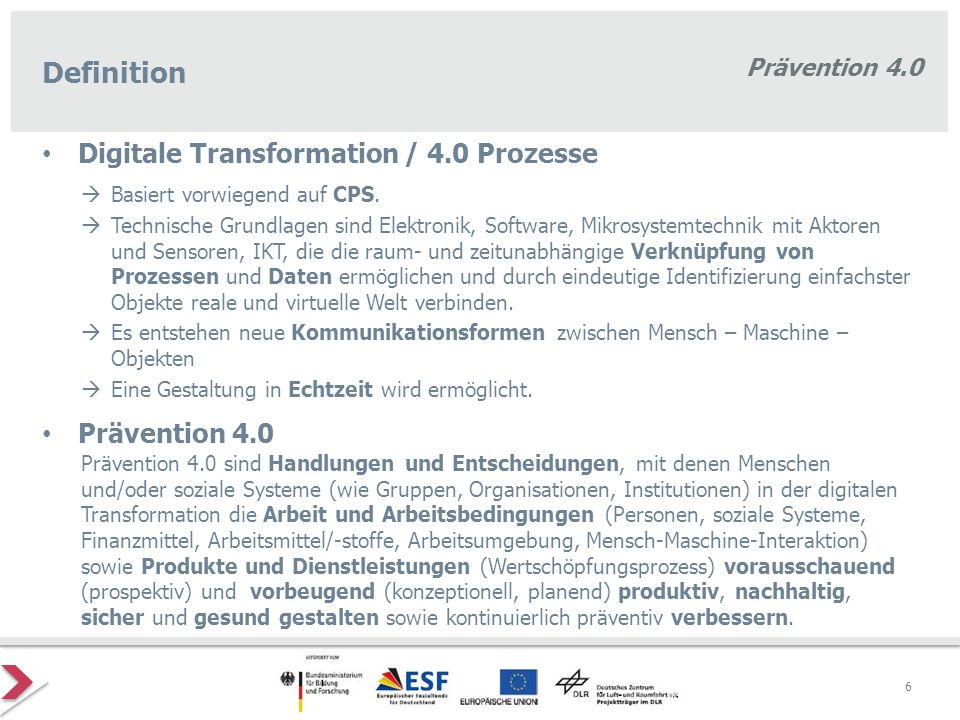 Definition Digitale Transformation / 4.0 Prozesse Prävention 4.0