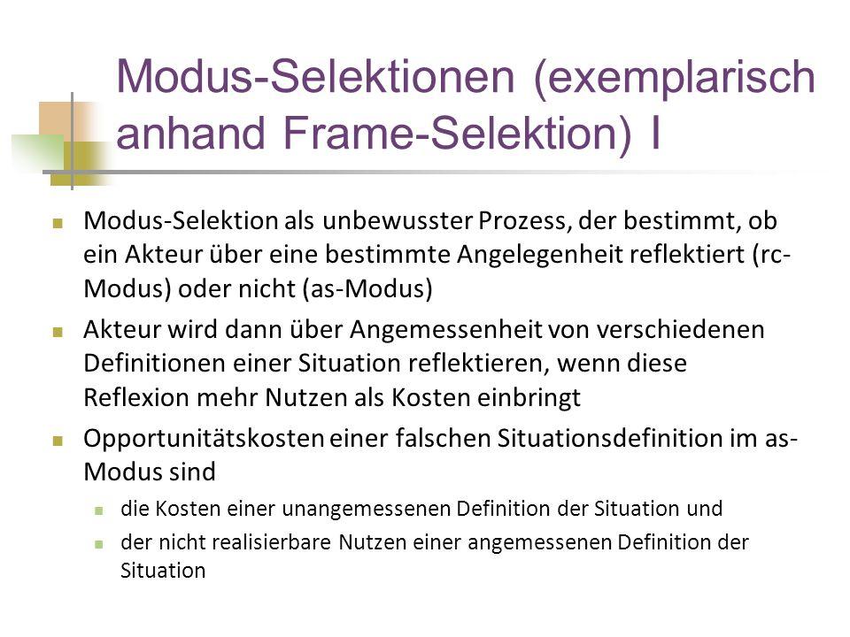 Modus-Selektionen (exemplarisch anhand Frame-Selektion) I