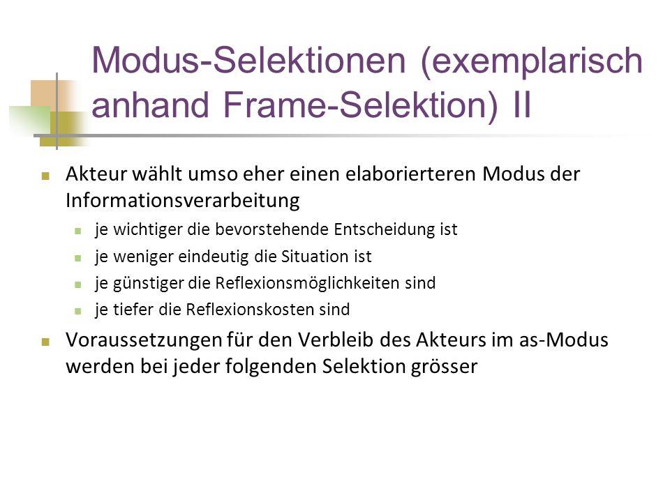 Modus-Selektionen (exemplarisch anhand Frame-Selektion) II