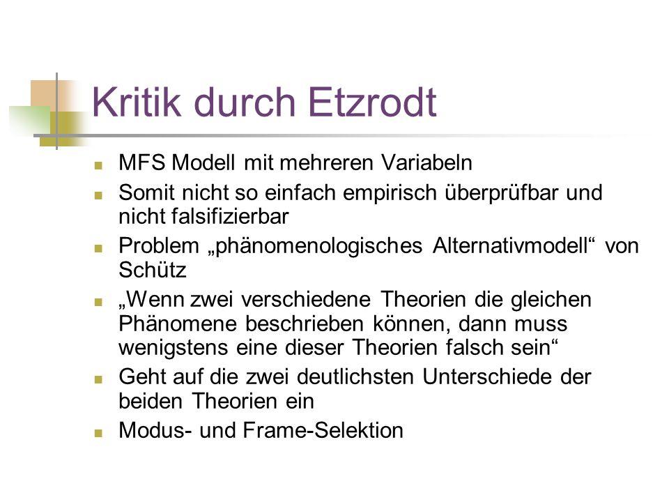 Kritik durch Etzrodt MFS Modell mit mehreren Variabeln